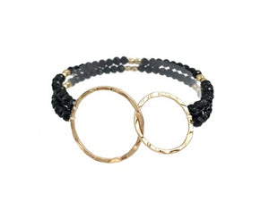 Double Strand Crystal Stretch Bracelet with Gold Circles in Mocha or Black