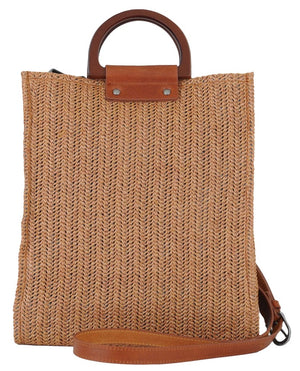 Wooden Top Handle Straw Bag (1104)