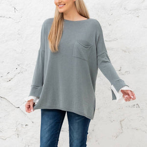 Lila- Sweater with ruffle cuff sleeves