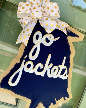 "Bopsidoodle Georgia Tech ""Go Jackets"" Wreath"
