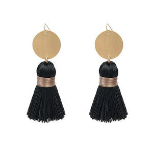 "Gold Coin with Fabric Tassel 2"" Earrings"