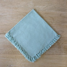 Cloth Napkin with a short fringe trim in Cloud Blue