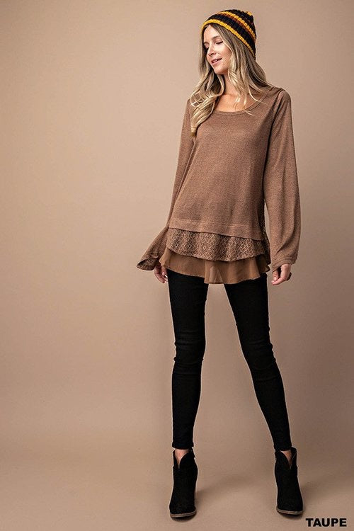 Long Sleeve with contrast Lace and Chiffon top in taupe