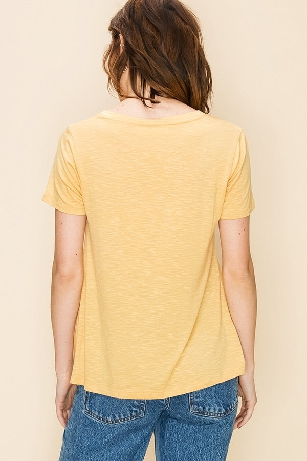 V NECK KNOT FRONT SHORT SLEEVE TOP