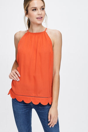 Scalloped Hem Tank Top in Tomato Red