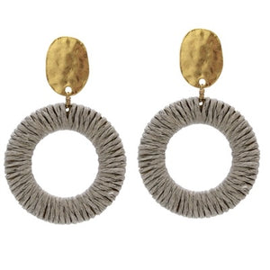 "Gold Stud with Grey Wrapped Circle 2"" Earring"