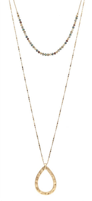 "Multi Crystal Layered 34"" Necklace with Hammered Gold Open Teardrop and Gold Ball Earrings"