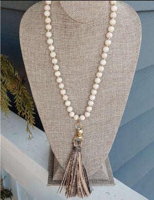 Beaded Necklace with Animal Print Tassel
