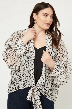 Leopard Tie-Front Surplice Top (Curvy fit)