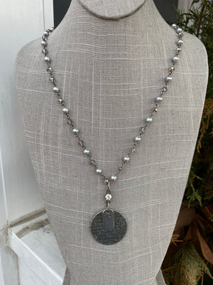 "Silver Pearl and Crystal 40"" Necklace with silver Love charms- (NW 107)"