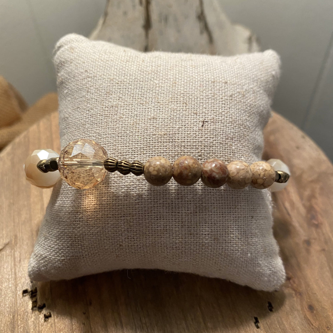 Bracelet with latte colored stones and rustic star charm - J2765