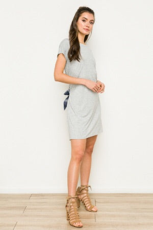 Plaid contrast tie waist tee dress