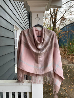 Pink and Tan Fringe Poncho