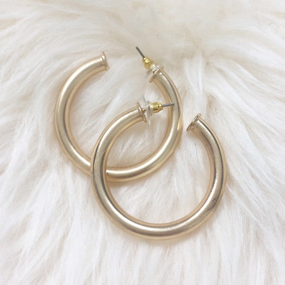 C Hoop Earrings, Silver or Gold