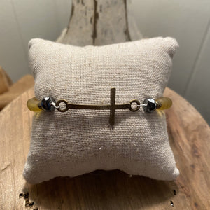Frosted Mustard cross bracelet - J2672