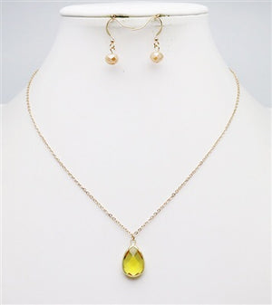 "Champagne Teardrop on Gold Chain 16""-18"" Necklace and Drop Earrings"