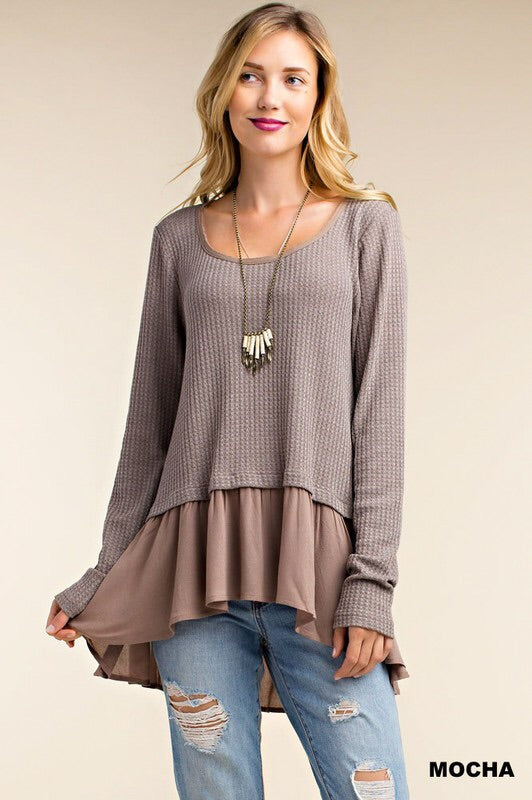 Kori America - Long Sleeve Ruffle Knit Top
