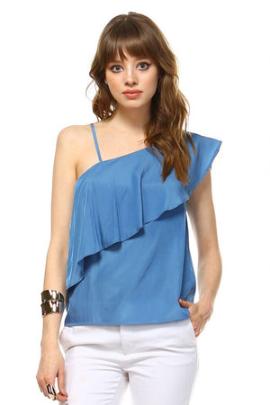 TCEC Flounce Layer Top, Blue