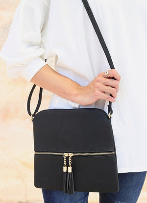 Avera Black Shoulder Bag with Tassels