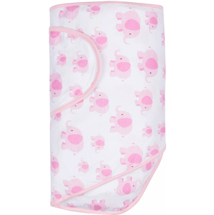 Pink print The Miracle Blanket® makes it easy to get the perfect swaddle every time!  The fabric is a super soft cotton knit selected for several good reasons: It's breathable so that it can be used in warm climates while still being luxurious enough to keep your baby warm in cooler places; It has just enough stretch to absorb your baby's movements without coming undone but it's not so stretchy that it won't stay tight.