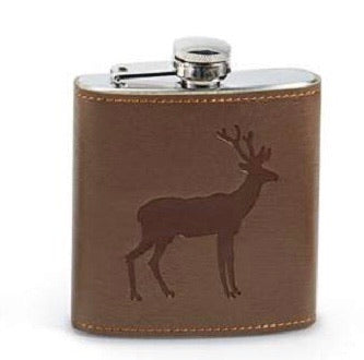 Flask, stainless steel features faux leather wrap with embossed deer