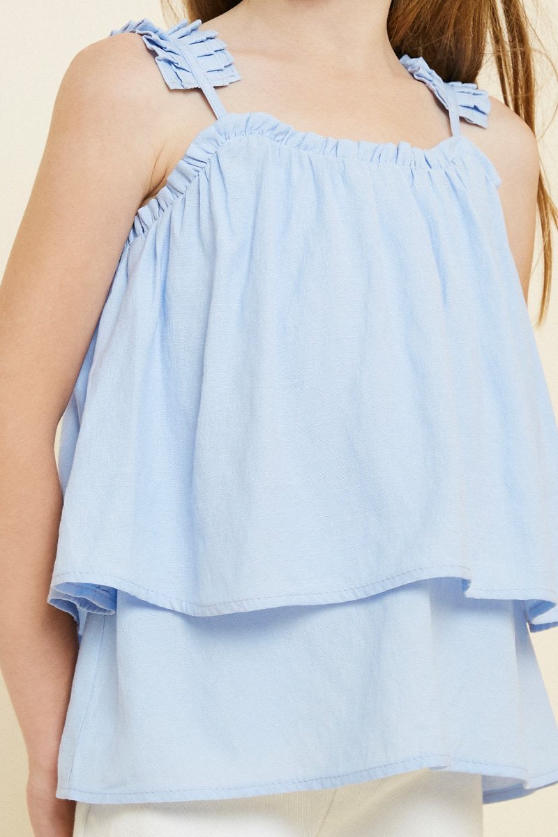 Tiered Pleated Strap Tank- Light Denim Blue