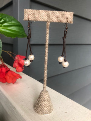 Leather and Pearl Earrings