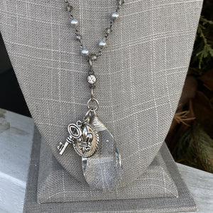 "Silver Pearl and Crystal ""40 Necklace with Crystal Teardrop and key charm"