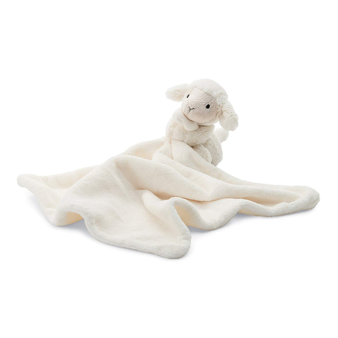 A sweet, cuddly lamb snuggles one corner of a plush, wonderfully soft blanket baby will love to cozy up with.