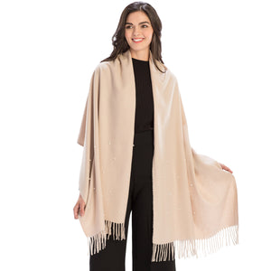Cashmere pearl embellished wrap