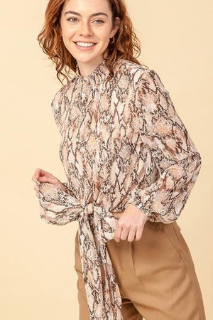 Long Sleeve Snakeskin Print Blouse