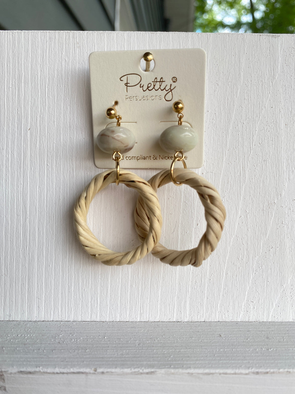 Straw Hoop Earrings- #PP453