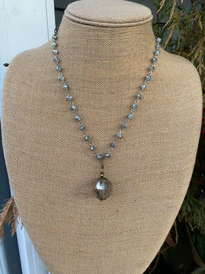 "Pewter Crystal Beaded Necklace with Smokey Drop - 20"" - J2799"