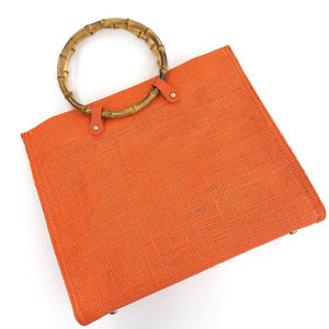 Hello 3am Orange Bag with Bamboo Handles