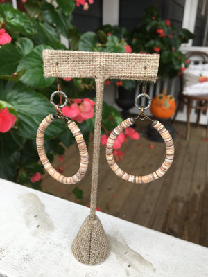 Flat Bead Hoop Earrings