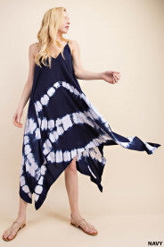 Curvy Fit Navy Maxi V Neck Dress with Shark Bite Print