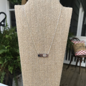 """Parker"" Sterling Silver Engraveable Bar Necklace"