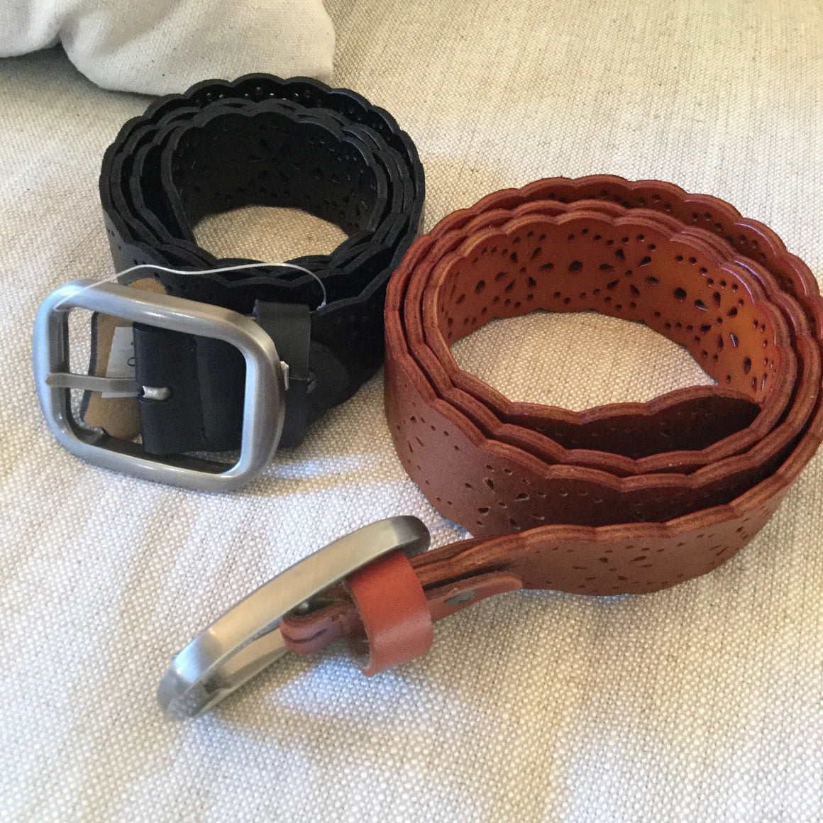 Faux Leather Belt with Scalloped Edges