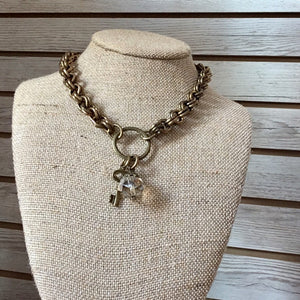 Antique Brass Chain Necklace with Charm Circle, 18""