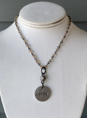 Silver Pearl and Crystal Necklace with silver Love Charm - NW103
