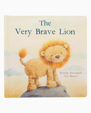 "In The Very Brave Lion, a little cub talks to his daddy about growing up. He learns it's ok to be scared sometimes, and that kindness and love are all that matters. A poetry fable with plenty of heart and beautifully sweet illustrations. This adorable board book from Jellycat is a wonderful gift for any child.  By: Wendy Ravenhill, Cee Biscoe Material: 100% paper board Dimensions: 9"" square"
