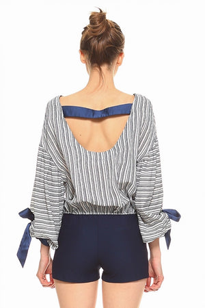 Woven Striped Top with Balloon Sleeves