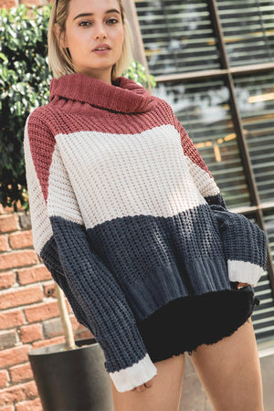 Bold Striped Turtleneck Sweater