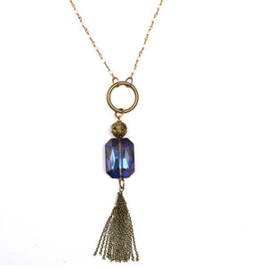 Tassel Crystal Chain Necklace, Assorted Colors, 46""