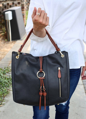 Jayden Black Hobo Bag with Tassel