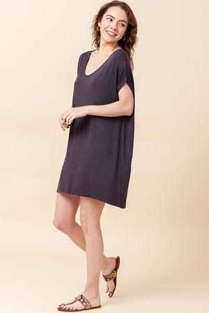V NECK DOLMAN SHORT SLEEVE DRESS