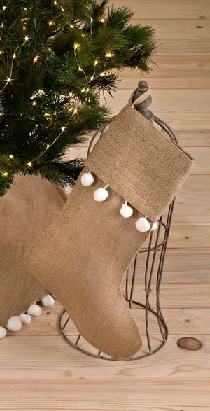 100% jute christmas stocking with pompoms