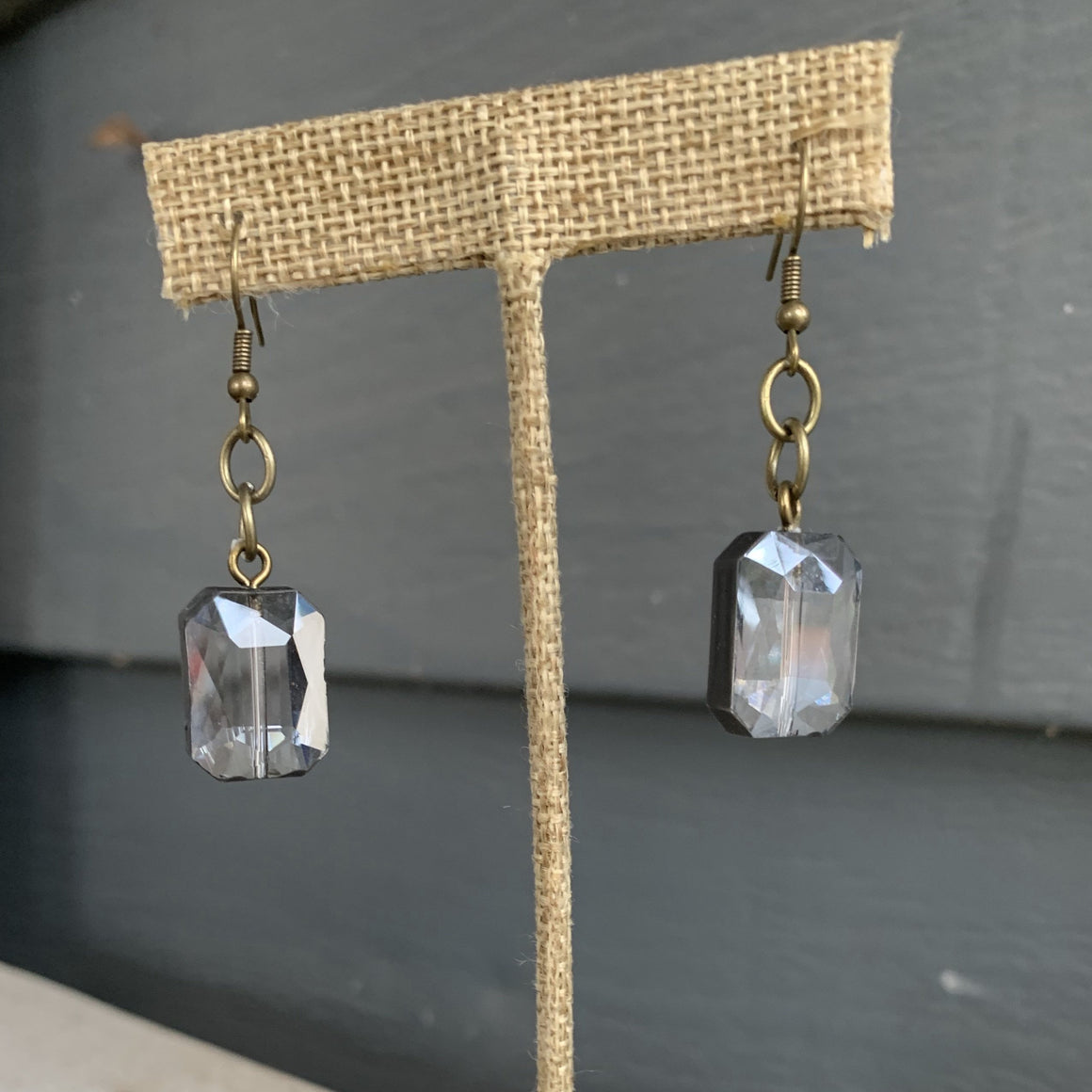 Rectangle Drop Crystal Earrings AC1008