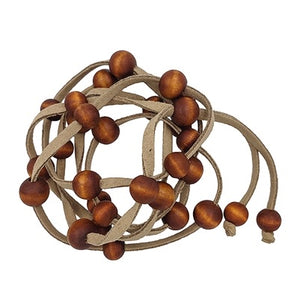 Suede with Wood Beaded Necklace/Wrap Bracelet