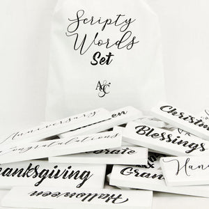 Wood Script Words (Set of 38 pieces)